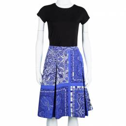 Etro Blue Paisley Printed Cotton Box Pleated Skirt M 107875