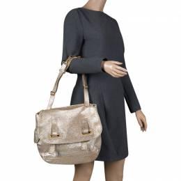 Saint Laurent Metallic Gold Leather Besace Shoulder Bag 111336
