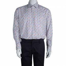 Etro White Paisley Motif Long Sleeve Button Front Cotton Shirt XL 80582