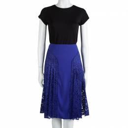 Joseph Cobalt Blue Pleated Lace Detail Courtney Skirt L 85133