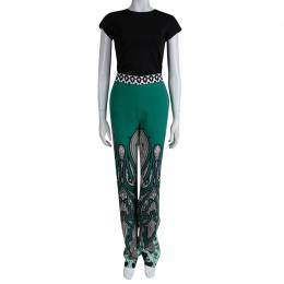 Etro Green Printed Silk Wide Leg Trousers S 80514