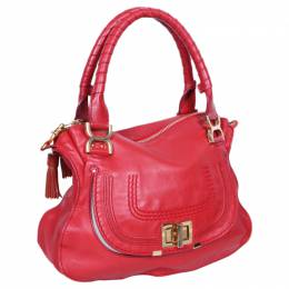Chloe Red Leather Marcie Shoulder Bag