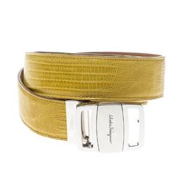 Salvatore Ferragamo Yellow Lizard Adjustable Buckle Belt 105cm 158514