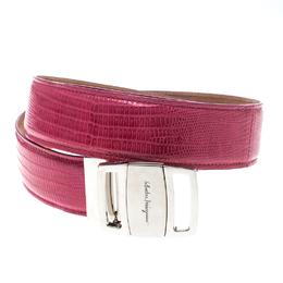 Salvatore Ferragamo Pink Lizard Adjustable Buckle Belt 105cm 158513