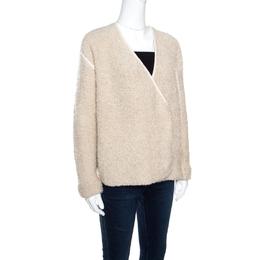 Zadig & Voltaire Cream Textured Wool Open Front Daphnee Cardigan L 158808