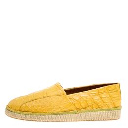 Salvatore Ferragamo Yellow Crocodile Leather Lampedusa Espadrilles Size 44.5 160608