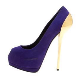 Giuseppe Zanotti Design Purple Suede Peep Toe Platform Pumps Size 38.5 158477