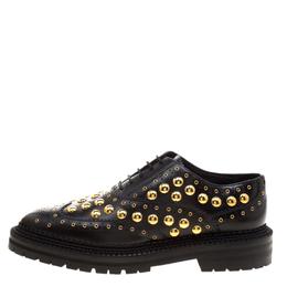 Burberry Black Leather Deardown Studded Platform Oxfords Size 38 123599