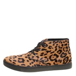 Dolce&Gabbana Leopard Print Calf Hair High Top Sneakers Size 43.5 158776