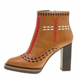 Tod's Brown Leather Gipsy Cross Stitch Detail Block Heel Ankle Boots Size 36 Tod's