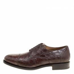 Salvatore Ferragamo Mocca Crocodile Leather Nordland Derby Size 44 160236
