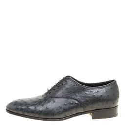 Salvatore Ferragamo Graphite Grey Ostrich Leather Gris Oxfords Size 41 159330