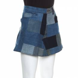 Zadig & Voltaire Indigo Washed Denim Jell Patch Deluxe Mini Skirt L 159363
