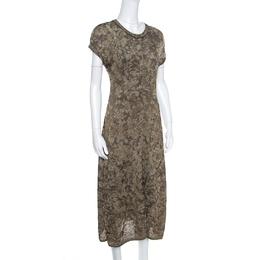 M Missoni Dull Gold and Black Lurex Knit Short Sleeve Midi Dress L 158967