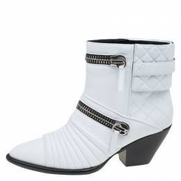 Giuseppe Zanotti Design White Quilted Leather Ankle Boots Size 39 83440