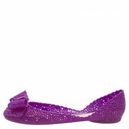 Salvatore Ferragamo Purple Nilly Jelly Bow Ballet Flats Size 40.5 160669