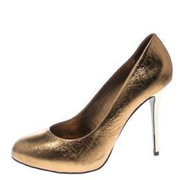 Tory Burch Metallic Bronze Crackled Leather Jenna Pumps Size 41