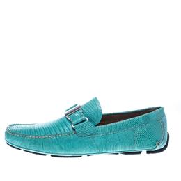 Salvatore Ferragamo Aqua Green Lizard Sardegna Loafers Size 44 148174