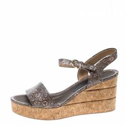 Salvatore Ferragamo Two Tone Embossed Lizard Leather Madea Cork Wedge Sandals Size 40 160240