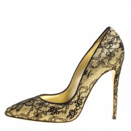 Dolce&Gabbana Metallic Gold Glitter and Black Chantilly Lace Pointed Toe Pumps Size 36 160243