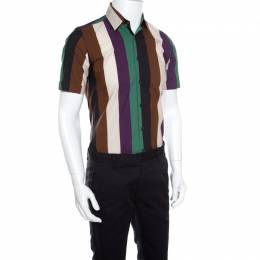 Salvatore Ferragamo Multicolor Wide Striped Cotton Short Sleeve Shirt S