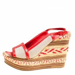Tory Burch Beige/Red Canvas and Patent Leather Breacher Slingback Espadrille Wedge Sandals Size 39.5