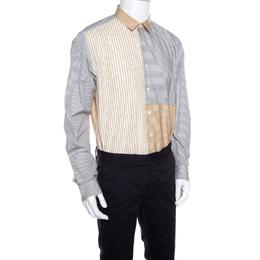 Salvatore Ferragamo Grey and Mustard Multi Stripe Paneled Cotton Shirt XL
