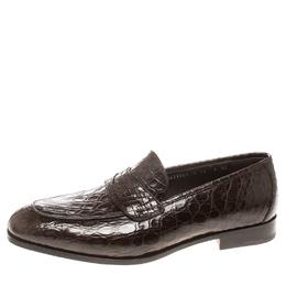 Salvatore Ferragamo Mocca Crocodile Leather Pablo Penny Loafers Size 43 160665