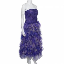 Tadashi Shoji Purple and Begie Tulle Embroidered Faux Feather Strapless Dress L 165001