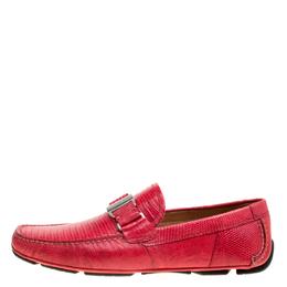 Salvatore Ferragamo Coral Red Lizard Sardegna Loafers Size 43 160610