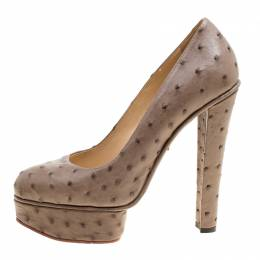Charlotte Olympia Taupe Ostrich Leather Greta Platform Pumps Size 39