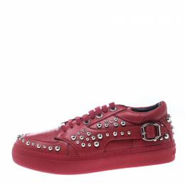 Jimmy Choo Red Studded Leather Roman Platform Sneakers Size 41 161303
