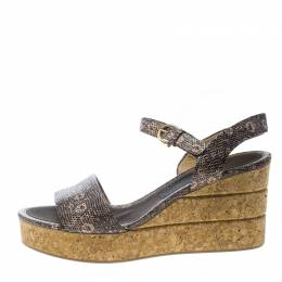 Salvatore Ferragamo Two Tone Embossed Lizard Leather Madea Cork Wedge Sandals Size 40.5 161364