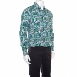 Salvatore Ferragamo Blue and Green Sailboat Printed Cotton Long Sleeve Shirt M 160534