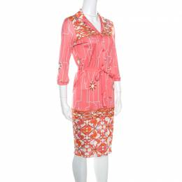 Emilio Pucci Pink Printed Silk Belted Shirt Dress S
