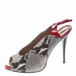 Giuseppe Zanotti Design Monochrome/Red Snakeskin Embossed and Patent Leather Slingback Platform Pumps Size 39 161628