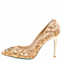 Loriblu Bijoux Beige Lace Crystal Embellished Pointed Toe Pumps Size 40 162003
