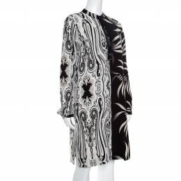 Etro Monochrome Paisley and Leaf Printed Silk Crepe de Chine Dress M 162102