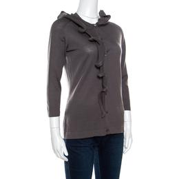 Celine Grey Wool Ruffled Asymmetric Neckline Detail Button Front Cardigan M