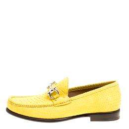 Salvatore Ferragamo Yellow Python Mason Loafers Size 41 161805
