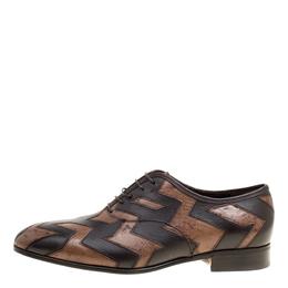 Salvatore Ferragamo Two Tone Brown Ostrich and Calf Leather Gris Oxfords Size 41 161772