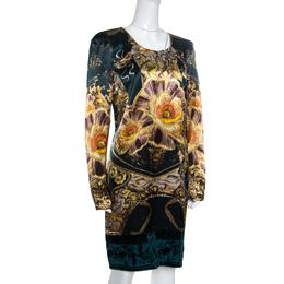 Roberto Cavalli Class Green Floral Printed Satin Burnout Velvet Trim Detail Dress L 162212