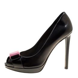 Dior Black Leather Peep Toe Platform Pumps Size 36 162608