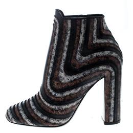 Salvatore Ferragamo Multicolor Leather Feeling Zig Zag Block Heel Ankle Boots Size 39.5 162357