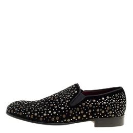 Dolce&Gabbana Black Velvet Crystal Studded Loafers Size 41 162416