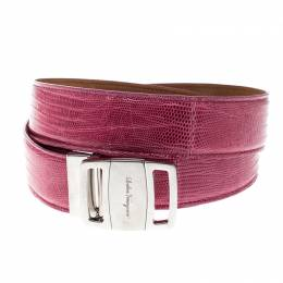 Salvatore Ferragamo Pink Lizard Adjustable Buckle Belt 115cm 162334