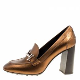 Tod's Metallic Bronze Leather Gomma Maxi Double T Court Loafer Pumps Size 40 Tod's 162420