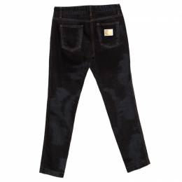 Dolce&Gabbana Black and Grey Washed Effect Distressed Stretch Jeans S 280579