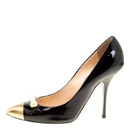 Giuseppe Zanotti Design Black Patent Leather Bow Embellished Cap Toe Pumps Size 40 163282