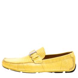 Salvatore Ferragamo Yellow Lizard Sardegna Loafers Size 44.5 163337
